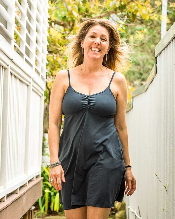 BJs PJs Kylie Cami Dress Charcoal Organic Cotton