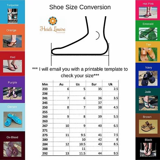 Genie Sandal - Wanderer Collection Size and Colour Guide