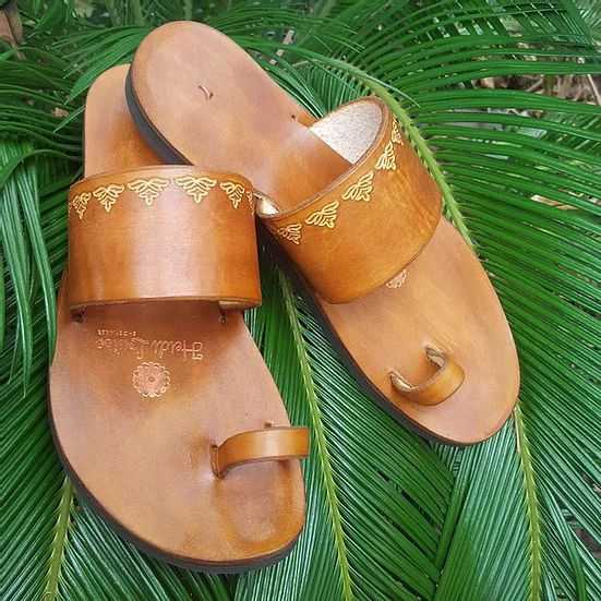 Indian Style Embossed Leather Sandal Slide 1