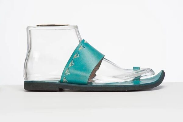 Indian Style Embossed Leather Sandal Slide Turquoise 3