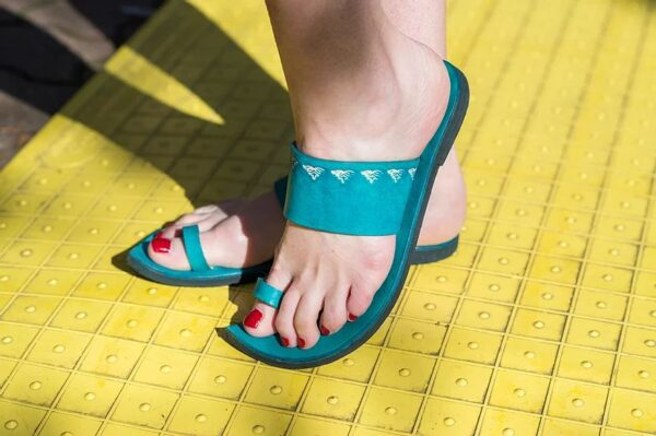 Indian Style Embossed Leather Sandal Slide Turquoise 5