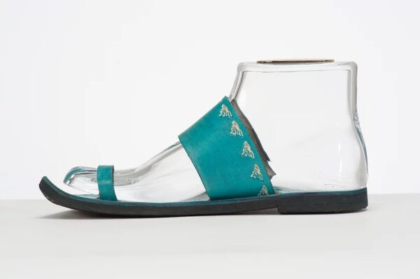 Indian Style Embossed Leather Sandal Slide Turquoise