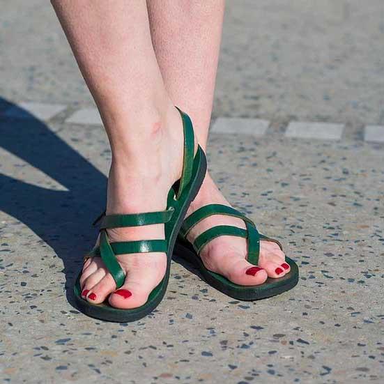 Pania Sandal, Adjustable Leather Strap Emerald 2