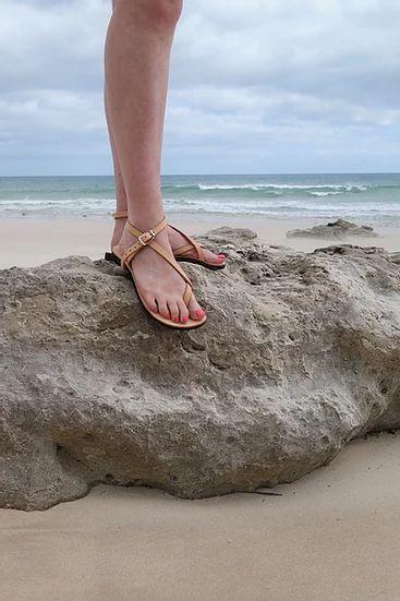 Venus Sandal - Adjustable Leather Sandal, Red 1