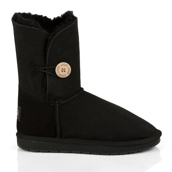 Single Button UGG Boots Black