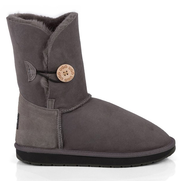 Single Button UGG Boots Grey