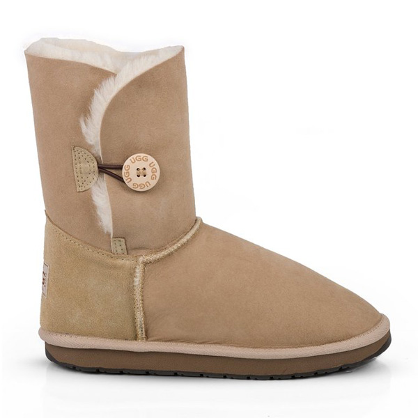 Single Button UGG Boots Sand