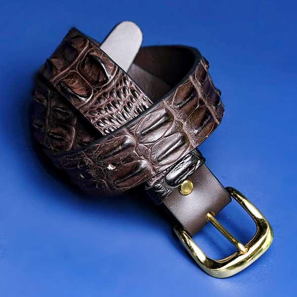 Chocolate Colour Crocodile Belt