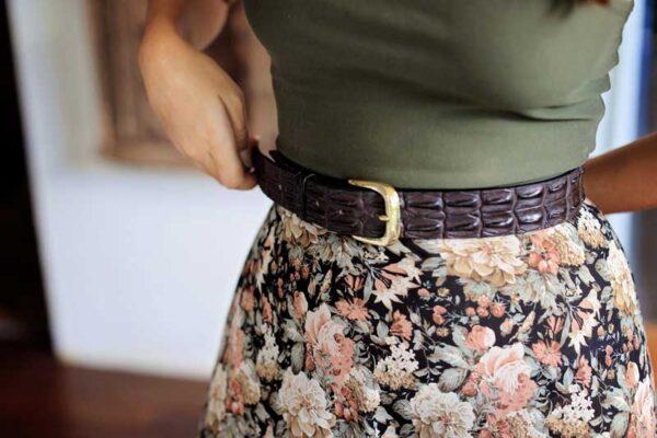 Ladies Brown Crocodile Belt