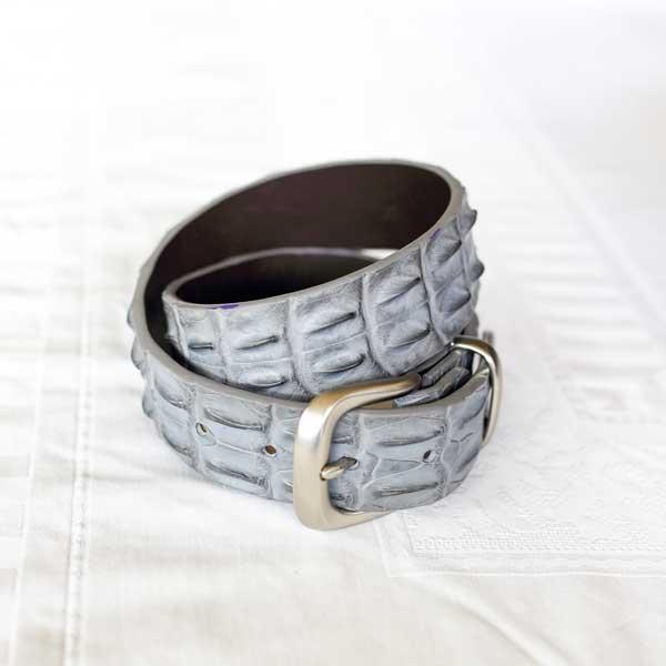 Grey Crocodile Belt